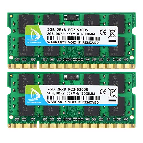 DUOMEIQI 4GB (2X 2GB) 2RX8 PC2-5300 PC2-5400 PC2-5300S DDR2 667MHz CL5 200 Pin 1.8v SODIMM Notebook RAM Non-ECC Unbuffered Laptop Memory Module Compatible with Intel AMD and MAC System (Pc2 5300 667 Ddr2 200 Pin So Dimm)