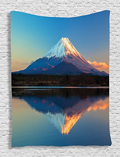 Ambesonne The Far East Nature Decor Collection, Mount Fuji and Lake Shoji Picture Clear Sky Sunset Photo Print, Bedroom Living Girls Boys Room Dorm Accessories Wall Hanging Tapestry, Navy Blue White