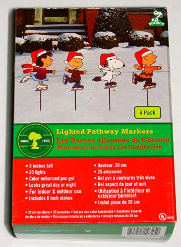 ProductWorks 8-Inch Pre-Lit Peanuts Skating Christmas Pathway Markers (Set of 4) (Unisex Snowman)