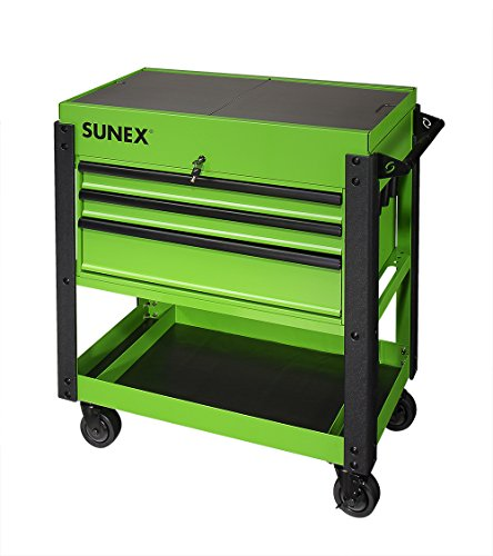 Sunex-8035XTLG-3-Drawer-Service-Cart-with-Sliding-Top-Lime-Green
