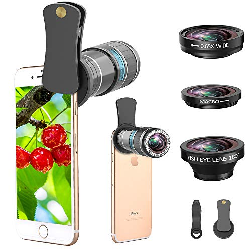 Phone Camera Lens, 4 in 1 12x Telephoto Lens Kit + 0.65x Wide Angle Lens & 15x Macro Lens + 180°Fisheye Lens, Clip-On Cell Phone Lens for iPhone 8 7 Plus 6s, Samsung Galaxy Note Smartphones