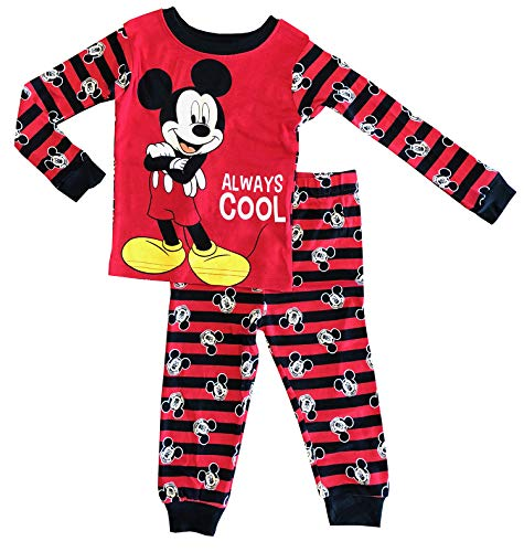 Disney Toddler Boys 2-Piece Mickey Mouse Always Cool Long Sleeve Pajama -
