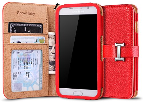 Singapore Slide (Samsung Galaxy S6 Cases, [Snow Fairy] Flip Cover Case [Premium Synthetic Leather Wristlet Series][Card Holder] [Wallet] - [Leather Fit]Wrist Strap Case for SM-G920 - Special ID Slot Design Red)