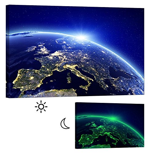 Canvas Glow in the Dark Wall Art Framed Print, No Energy Use -