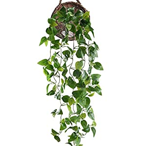 HUAESIN Fake Hanging Plants 3.4 FT Pothos Silk Plants Artificial Ivy Vines Plants Greenery Leaf Cover for Shelve Weeding Wall Indoor Outside Hanging Basket Decor 24