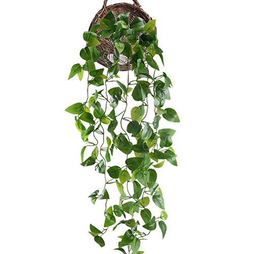 HUAESIN Fake Hanging Plants 3.4 FT Pothos Silk Plants Artificial Ivy Vines Plants Greenery Leaf Cover for Shelve Weeding Wall Indoor Outside Hanging Basket Decor
