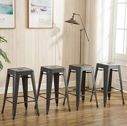 26inch Backless Metal Counter Height Bar Stools Set of 4 Vintage Tolix Chairs Matt Silver (French Style Counter Stool)