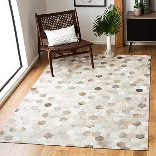 Safavieh Studio Leather Collection STL217A Handmade Mid-Century Modern Leather Area Rug, 3′ x 5′, Ivory / Grey