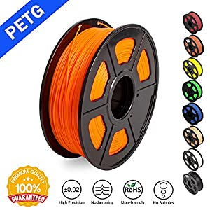 PETG 1.75mm 3D Printer Filament, Dimensional Accuracy +/- 0.02mm, 2.2 LBS (1KG) Spool,1.75 mm PETG 3D Filament for Most 3D Printer & 3D Printing Pen by SUNLU