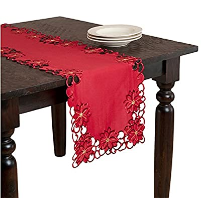 "Holiday Christimas Embroidered and Cutwork Table Runner, Red Color, 16""x90"" Rectangular, One Piece"