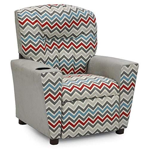 Kidz World Zoom Zoom Pewter Natural Kid's Recliner with Cup Holder, Silver Suede