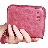 PABOJOE Short Wallets Womens RFID Blocking Leather Zipper Credit Cards Coin Purse (Purple)