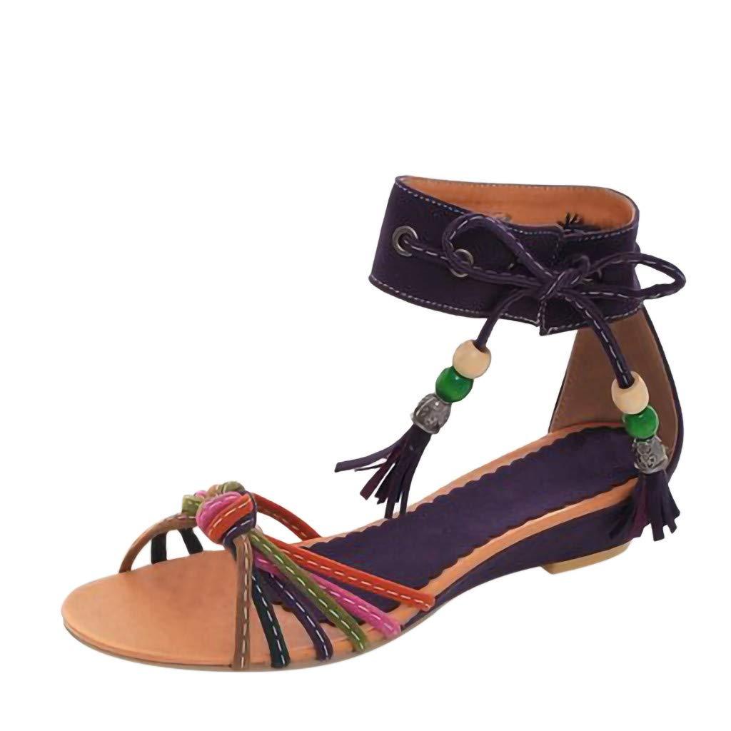 Caopixx Women Bohemian Beaded Ankle Strap Sandals Summer Flat Beach Flip Flop Shoes Wedge Low-Heeled Purple