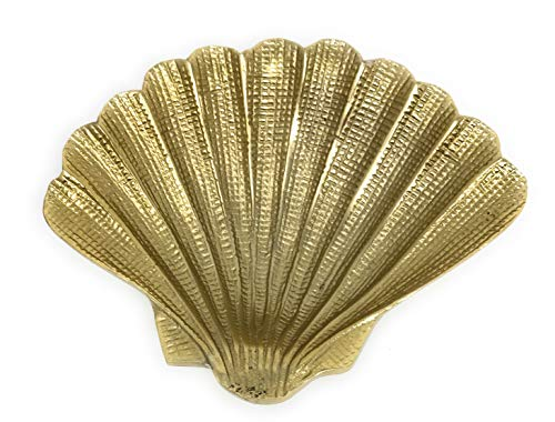 (IHI Gold Gilded Textured Aluminum Seashell Tabletop Serving Dish Catchall Tray, 7.25 Inches)