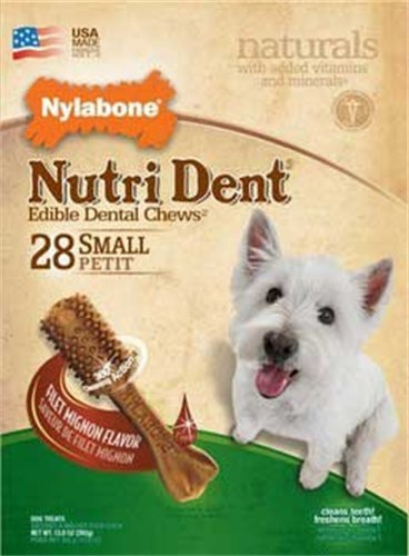 Nylabone Nutri Dent Filet Mignon Dog Chews, Small, 28-Count Value Pack, My Pet Supplies