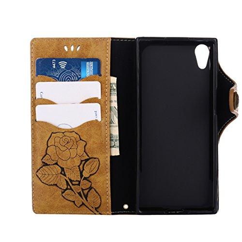MEIRISHUN Leather Wallet Case Cover Carcasa Funda con Ranura de Tarjeta Cierre Magnético y función de soporte para Sony Xperia XA1 - Rosado Caqui