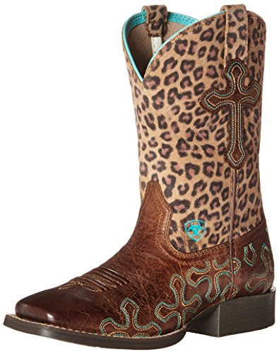 (Kids' Crossroads Western Boot (Little Kid/Big Kid), Wood/Cheetah, 11 M US Little Kid)