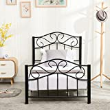Mecor Twin Size Curved Metal Bed Frame/Mattress Foundation/Platform Bed for Kids Adults with Steel Headboard Footboard,No Box Spring Needed,Black,Twin