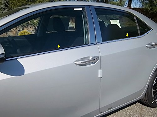 "QAA FITS COROLLA 2014-2019 TOYOTA (4 Pc: Stainless Steel Window Sill Trim - 0.375"" wide, 4-door) WS14112"