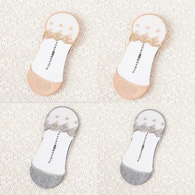 Maivasyy 4 paires de chaussettes en coton Princesse Dentelle BAS CHAUSSETTES Bateau furtif Slim Femme Printemps et l'été au large de la soie sauvage Cristal Femmes Chaussettes, teint gris 2 2