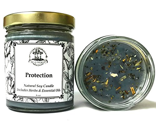 Protection Soy Herbal Candle 6 oz for Negativity, Psychic Attacks & Evil Intentions Wiccan Pagan Hoodoo Conjure (Candles Soy Root)
