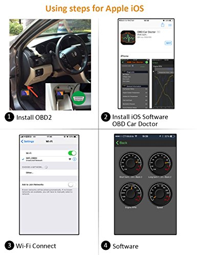 kungfuren OBD2 Scanner, [2018 NEW] Code Reader Car diagnostic Tool Compatible With IOS, Android & Windows Devices Connects Via WiFi For Cars by kungfuren (Image #6)