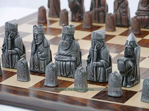 Berkeley Chess Isle of Lewis Chess Set – Metal (Steel and Copper Finish, Board Not Included)