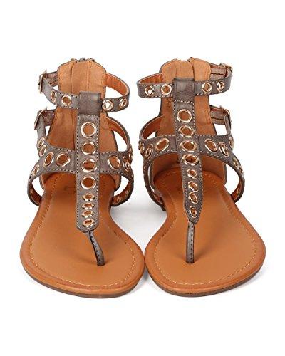 ... Betani Ek30 Kvinner Leather Grommet Spenne Gladiator T-stropp Sandal -  Taupe ...