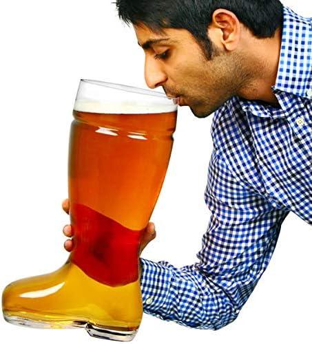 Oktoberfest Cocktail Sharer Ice Bucket bar@drinkstuff Giant Glass Beer Boot 5 Pint Bierstiefel