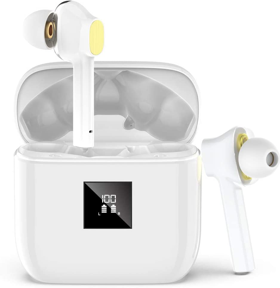 Auriculares Bluetooth 5.0, IPX7 Impermeable Auriculares Bluetooth Inalámbricos con Cuatro Controladores de Sonid, Estéreo In-Ear Auriculares con Caja de Carga, Pantalla LED & Puerto de Carga Tipo