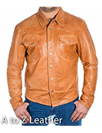 Mens Tan Leather Smart Fitted Denim Levis Shirt Style Stud Button Trucker Jacket