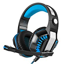 KSCAT 3.5mm Professional Bass Stereo PC Gaming Headset Noise Isolation Over-ear LED Headphones with Mic for Laptop Computer PS4 Blue, with A Christmas Gift Box