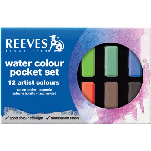 Reeves Water Color Pocket Set with Half Size Nylon Brush, Set of 12