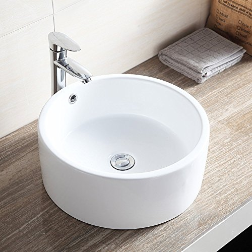 Small Round White Porcelain Ceramic Bathroom Vessel Sink Vanity Above Counter and Faucet Combo,Pop-Up Drain,Art Basin by Wonlink