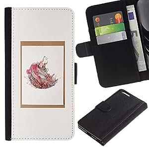 Estuche de Cuero Billetera del tirón Tarjeta de la Bolsa Titular de Suave Caso para Apple Iphone 6 PLUS 5.5 / CECELL Phone case / / Watercolor Nature Minimalist Poster /