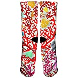 Msd8sd2w Coral Reefs and Marine Life Men's/Women's Sensitive Feet Wide Fit Crew Socks and Cotton Crew Athletic Sock