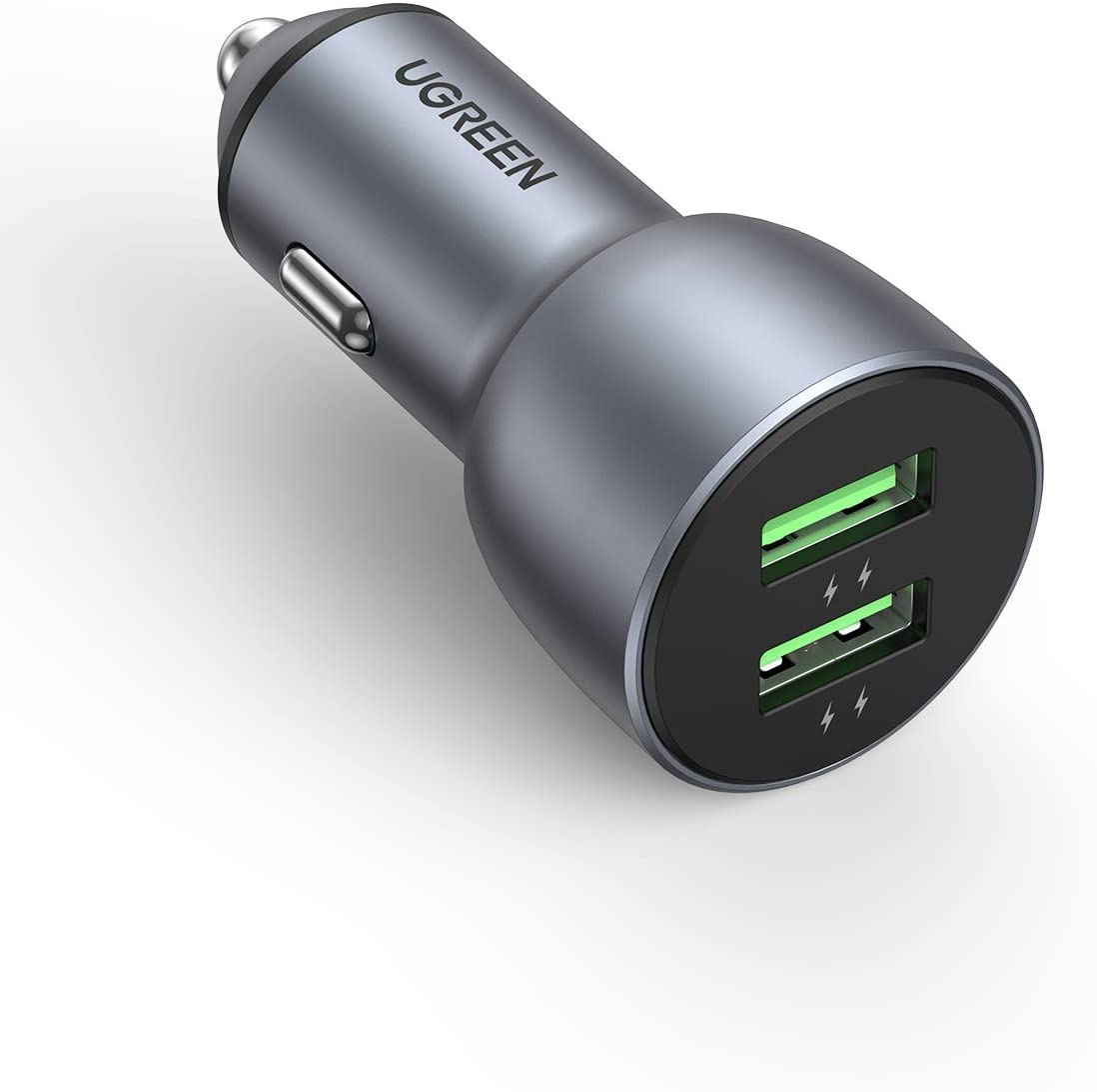 UGREEN USB Car Charger, 36W Dual USB QC 3.0 Fast Charging Car Adapter Aluminum Car Charger Compatible for iPhone 12/SE/11/11 Pro/XR/X/XS, Samsung Galaxy S20/S20 Ultra/S10+/S9/S8/Note and More