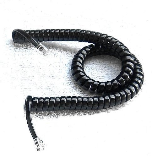 Curley Cord - Handset Cord 9 Ft Black Heavy Duty New in a Factory Sealed Bag