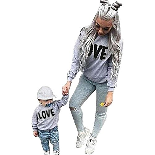 GBSELL Mommy and Me Long Sleeve Love Letter Blouse Pullover Top Family Clothes Outfits (Kid Black, (Blouse Love Label)