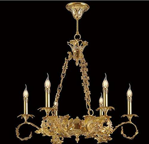 GOWE Copper chandeliers dewaxing carving French copper chandelier lamp living room bedroom den genuine all-copper copper chandelier Body Color:6 light