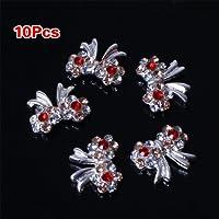 TOOGOO(R) 10pcs Special Charming 3D Nail Art Designs Nail Art Bow Tie Alloy Rhinestones DIY Decoration