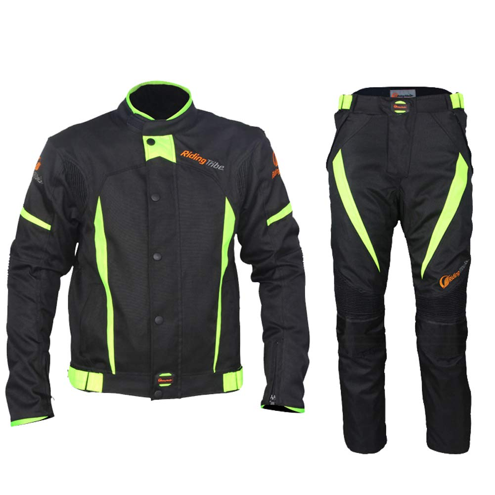 Motorcycle Jacket Pant Suit Detachable Warm Layer 9 Pieces of EVA Protection Device with Reflective Stripes Wear-Resistant for Bicycles, Riding Motorcycles, Cross Country,XXXL