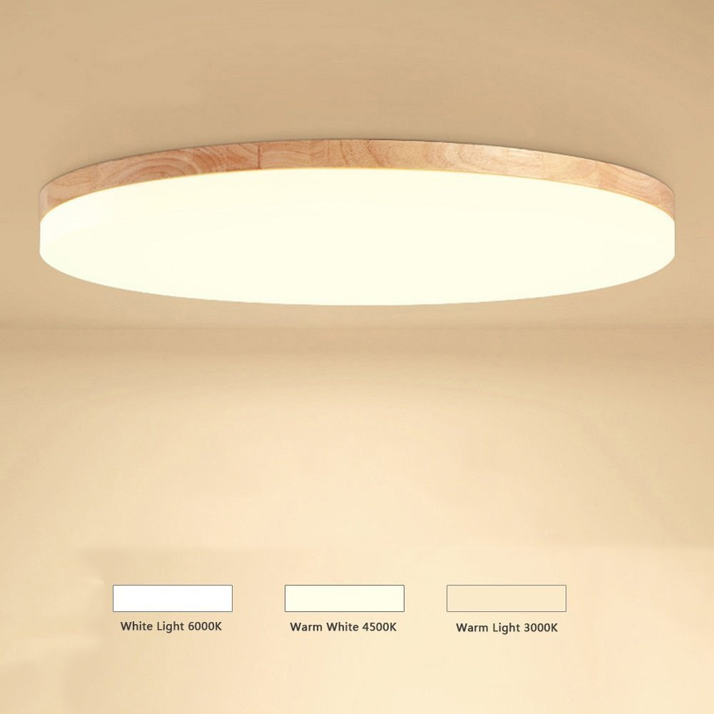 Wooden LED Ceiling Lamp Modern Round Dimmable Thickness 5cm ...