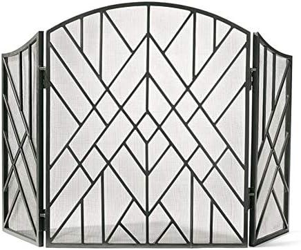 暖炉スクリーン 屋内/屋外アメリカンスタイルのリビングルームスパークガードカバー用の黒い暖炉スクリーン-金属メッシュの安全なベビー耐火フェンス