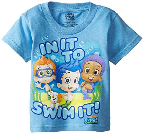 Nickelodeon Little Boys' Bubble Guppies in It To Swim It Short Sleeve T-Shirt, Carolina Blue, 5T]()