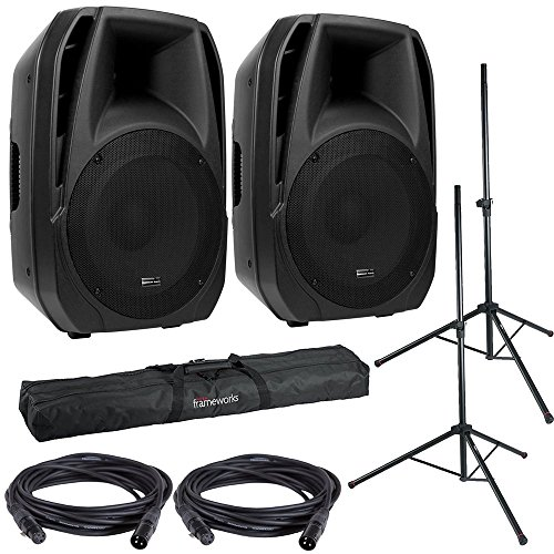- American Audio ELS15BT Powered Speakers (2) with Gator Stands