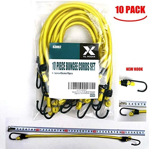 DAJIA 8mm bungee cords with hooks 5//16x 18 8mmx45cm Industrial Bungee Cord x 10piece 8mmx45cm, yellow