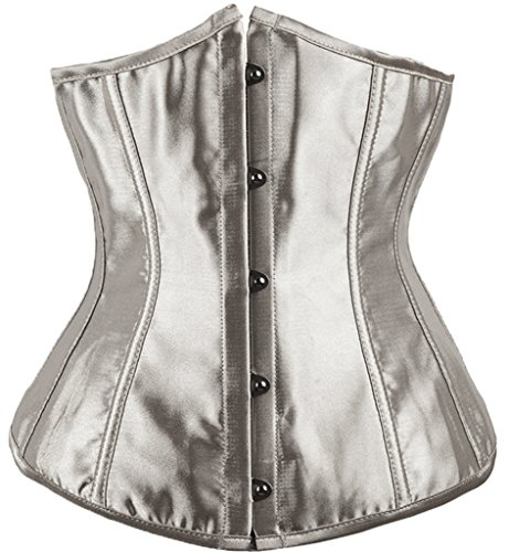 Alivila.Y Fashion Womens Satin Sexy Underbust Waist Training Corset 2686A-Gray-S