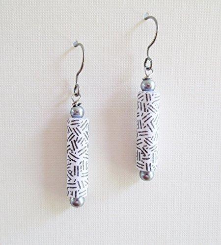 Paper Collage Earrings (Original OOAK Silver Gray Recycled Security Envelope Paper Bead Earrings)