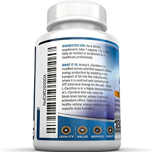 BRI Nutrition Acetyl l Carnitine 180 or 90 Count 500mg L Carnitine Capsules 1000mg Servings